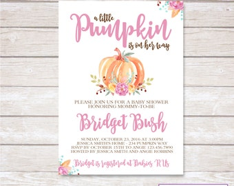 PUMPKIN BABY SHOWER Invitation. Baby Girl. Digital. Printable.