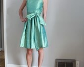 50s iridescent silk jade green party dress with long oversized sash, size S