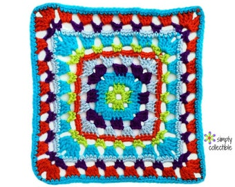 Crochet Pattern - Penelope's Skipping Stones 12 inch Square granny motif crochet pattern