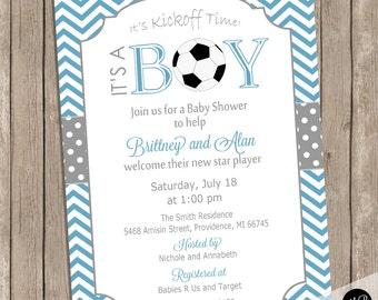 Soccer Baby Shower invitation, soccer / football, Boy Baby Shower Soccer Ball -  blue and gray, printable or printed invitation Soccer02