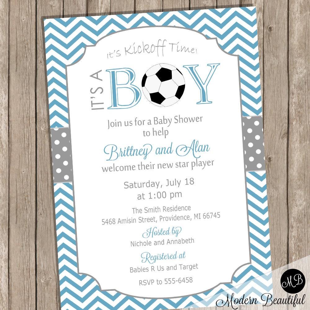 Soccer Baby Shower Invitation Soccer / Football Boy Baby