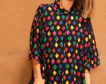 VERSACE style 90s silky COLOR block vintage SLOUCHY button up down top