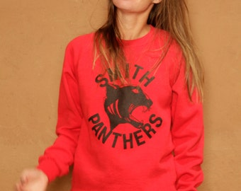PANTHER vintage raglan RED 80s 90s wild animal sweatshirt