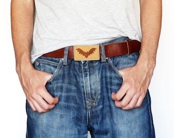 Bat belt buckle, Vampire belt buckle, Wood belt buckle, Brown leather belt, Statement handmade buckle, Designer belt buckle, Unisex buckle