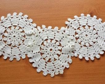 Vintage Crochet Doilies, 3 Matching Coaster Doilies, 5.5 to 6 inch Doilies, Wedding Doilies, Flower Doilies