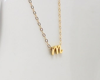 Gold Cursive Initial Necklace, Tiny Initial Jewelry, Dainty Lyered Necklace, Gold Filled Chain
