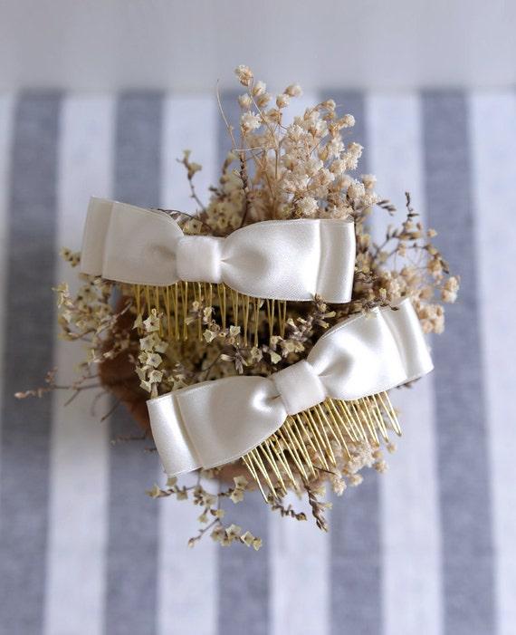 Ivory Bow - bridal wedding comb, simple bridesmaid headpiece