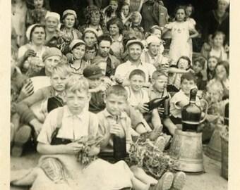 "Vintage Photo ""Many Faces...Grand Family Reunion"" Snapshot Antique Photo Black & White Photograph Found Paper Ephemera Vernacular - 25"