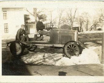"Vintage Photo ""Battling the Snow Banks"" Car Auto Snapshot Old Antique Photo Black & White Photograph Found Paper Ephemera Vernacular - 67"