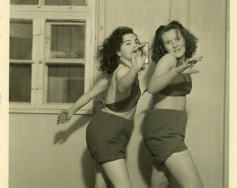 "Vintage Photo ""Late Night Dance Off"" Girl Dancing Snapshot Old Antique Photo Black & White Photograph Found Paper Ephemera Vernacular - 157"