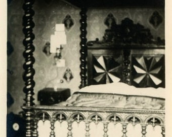 "Vintage Photo ""The Wizard's Bedroom"" Home Decor Snapshot Photo Old Black & White Photograph Found Picture Paper Ephemera Vernacular - 196"