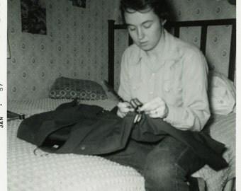 "Vintage Photo ""Military Mender"" Woman Sewing Uniform Snapshot Photo Antique Black & White Photograph Found Paper Ephemera Vernacular - 159"