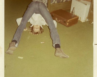 """Vintage Color Photo """"Cousin Carl"""" Boy Upside Down Rear Silly Trick Snapshot Photo Old Photograph Found Photo Paper Ephemera Vernacular - 41"""