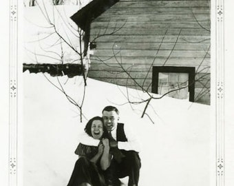 "Vintage Photo ""Romance and Giggles"" Snow Couple Laughing Snapshot Old Photo Black & White Photograph Found Paper Ephemera Vernacular - 143"