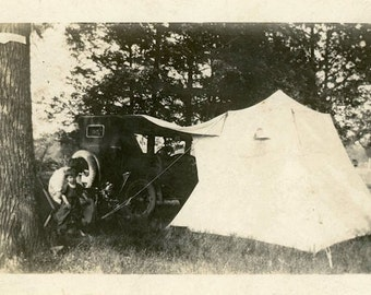 "Vintage Photo ""Roadside Camping"" Car Tent Travel Snapshot Old Antique Photo Black & White Photograph Found Paper Ephemera Vernacular - 125"