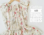 Toddler cotton silk Tunic, Shabby Chic Girl dress, Floral cream dress for girls