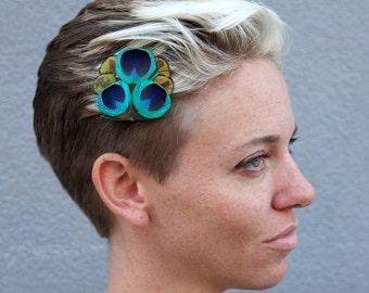 Stunning Blue Peacock Hair Clip