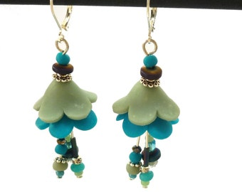 Fairy earrings, peacock blue and olive green Flowers, handmade teal tulip trumpet beads, 925 STERLING SILVER leverback, petunia, aqua blue