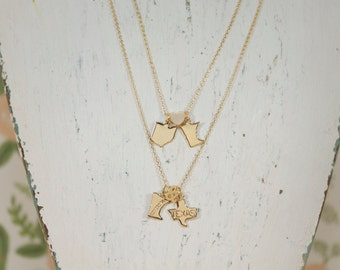 Long Distance Lovers   Gold Double State Necklace   Best Friends   Graduation Gift   College   Going Away   Pen Pals   Mothers Day Gift
