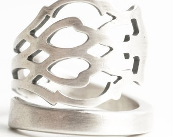 Unique Promise Ring, Sterling Silver Spoon Ring, Pierced Metal, Florentine, Wrap Ring, Handmade Ring Gift For Her, Adjustable Ring Size 6250