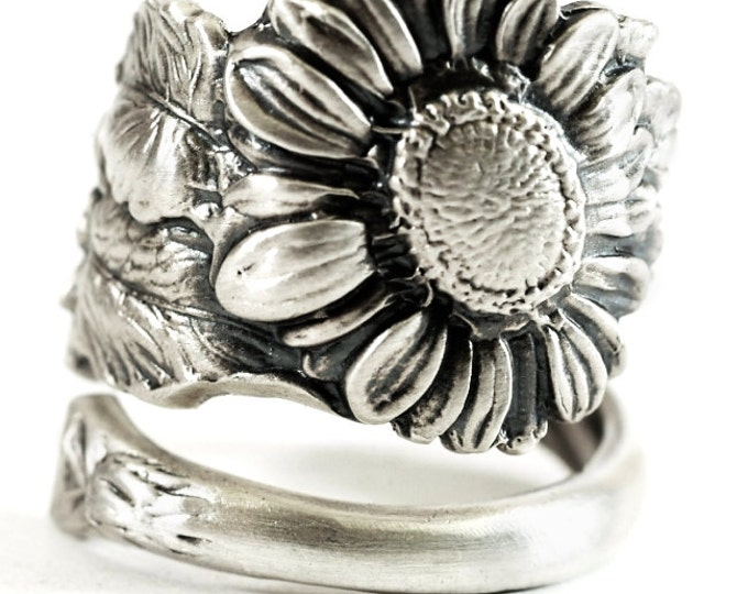 Sunflower Ring, Sterling Silver Spoon Ring, Art Nouveau, Sunflower Jewelry, Thumb Ring, Floral Ring, Flower Ring, Adjustable Ring Size, 5803
