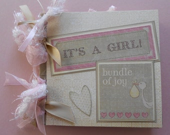 Baby girl gift  scrapbook album pre made moms brag book grandmas brag book baby girl gift