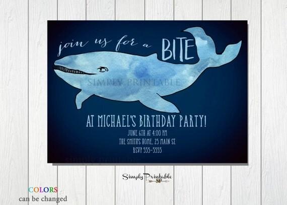 Shark Invitation, Pool Party Invite, Boys Birthday, Sea Invite