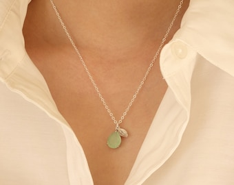Sister Necklace Initial Necklace Personalized Gift Necklace CZ Bridesmaid Bridal Wedding in Jewelry Hand Stamped Blue Green