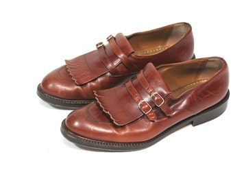 Masculine Feminine Vintage 80s Brown Loafers Low Heel Joan & David Handmade Italian Leather Shoes 40 9