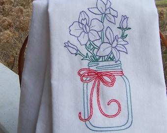 Embroidered Tea Towel/ Kitchen Dish Towel Larkspur in Mason Jar