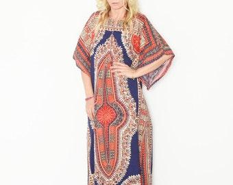 Vintage Dashiki Caftan, 70s Maxi Dress