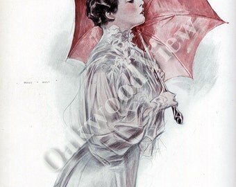 My Lady Walks by Henry Hutt, Pink Umbrella, Quarrel, Beautiful Woman, Antique 1908 Edwardian Color 9x11 2-Sided Book Plate, FREE SHIPPING
