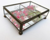 Vintage Glass Brass Box, Card Box, Etched Glass Box, Mirrored Display Case, Shadow Box