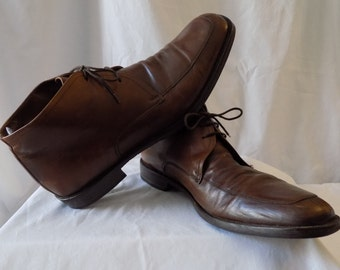 Vintage Men's Brown Leather Ankle Boots size 12