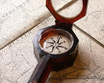 Vintage French Bakelite Compass with combination Magnifying Glass and Mirror