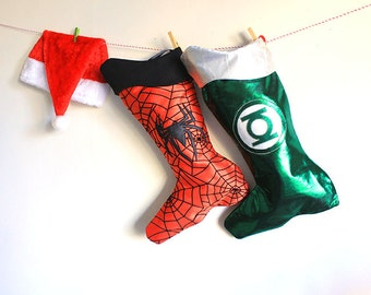 Christmas Stockings set:Green Lantern and Spiderman duo- Superhero holiday decor