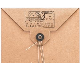 Personalized Address Stamp, Custom Stamp, Address Mailing Stamp, USPS Meter Design, DIY Printing, Housewarming, Original, Wood Mounted Stamp