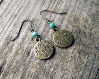 Tree of Life Earrings // Light Blue Earrings, Dangle Earrings, Tree Earrings, Earthy Jewelry, Rustic Earrings, Yoga Jewelry