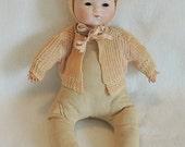 "Antique Bisque Head 16"" ARMAND MARSEILLOE 341/4 Baby Doll Cloth Body.. For Repair"