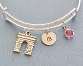 Arc de Triomphe Bracelet, Paris, Initial Bangle,Silver Bangle,Personalized,Expandable,Charm Bracelet,Birthstone Bracelet,BFF Friend,Birthday