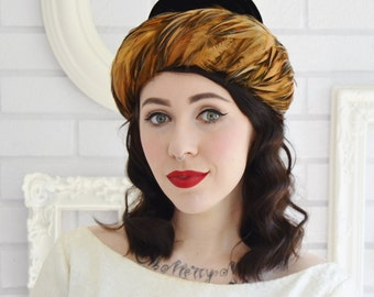 Vintage Black Velvet and Pheasant Feather Hat by Gimbels
