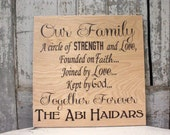 Family Circle of Strength and Love, Faith, and God, Family Quote, Housewarming, Wedding Gift, Extended family