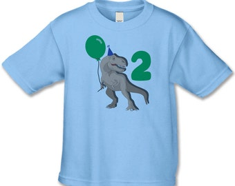 Dinosaur Birthday Shirt - 2nd Birthday T-Shirt (use your child's age or any number) - Dinosaur Birthday Party - Personalized T-Rex Shirts