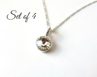 Bridesmaid Necklace Set of 4, Bridesmaid Gifts, Sterling Silver Necklace, Crystal Necklace, Bridesmaid Jewelry Set of 4, Wedding Jewelry