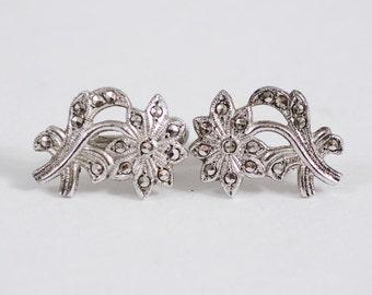 50% OFF SALE / 1940s vintage earrings / sterling silver earrings / Marcasite Daisies