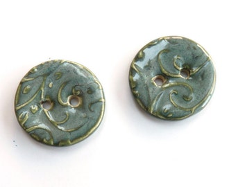 Ceramic buttons ~ 2 handmade round porcelain buttons, grey green unique one of a kind for craft projects knitting sewing jewelry making