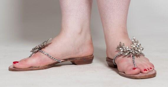 Vintage 1960s Bernardo Jeweled Sandals - Rhinestone Flats Shoes - Bridal Fashions Size