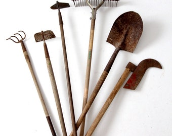 vintage garden tools, collection old lawn and garden tools, shovel, hoes, aerator, cultivator
