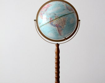 FREE SHIP  vintage world globe, 1970s replogle globe on tall stand