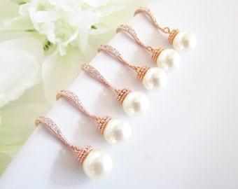 Set of 5,Rose Gold Bridesmaid Earrings,Bridesmaid Jewelry Set of 5,Five Bridesmaid Earrings,Rose Gold Pearl Earrings,Swarovski Pearls,Gifts